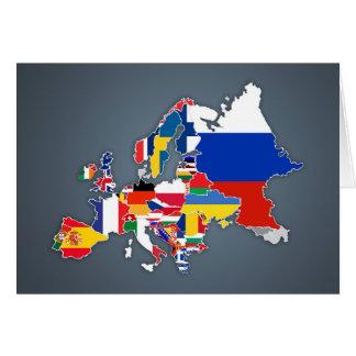 Tarjeta Banderas de país europeas del mapa el  