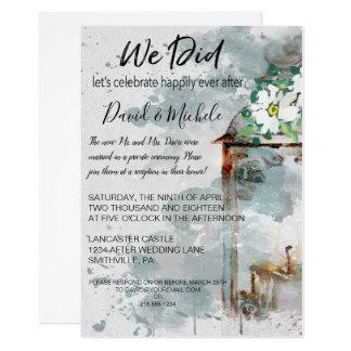 Tarjeta Banquete de boda de la linterna del color de agua