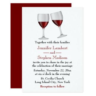 Tarjeta Banquete de boda rojo de las copas de vino de