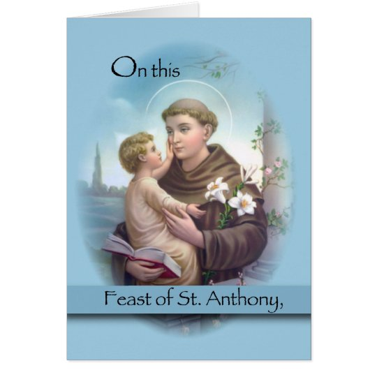 Tarjeta Banquete de St Anthony, azul