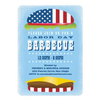 Tarjeta Barbacoa patriótica de la hamburguesa del Día del