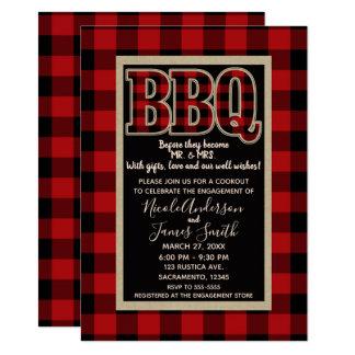Tarjeta Barbacoa roja rústica del Bbq de la tela escocesa