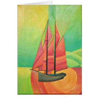 Tarjeta Barco de navegación abstracto cubista