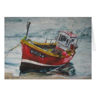 Tarjeta Barco de pesca amarrado