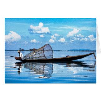 Tarjeta Barco de pesca en Inle