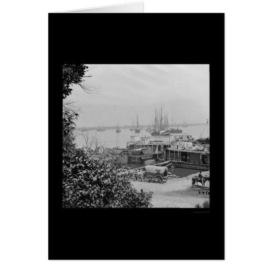 Tarjeta Barcos de la fuente de la costa en el punto 1864
