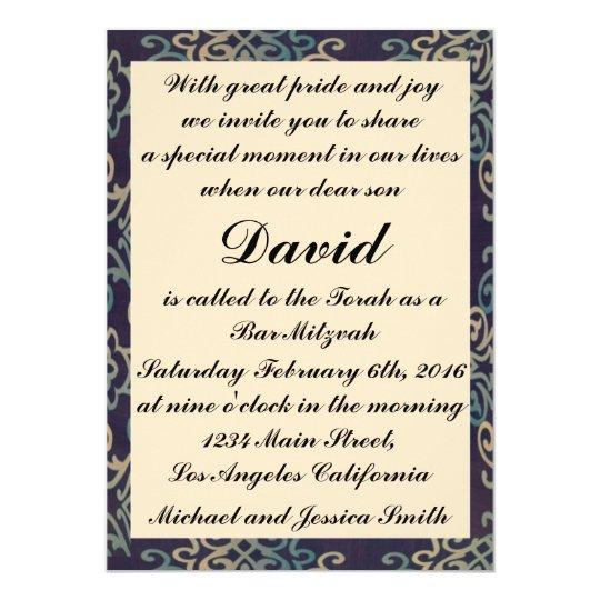 Tarjeta Barra azul y blanca Mitzvah/invitación del