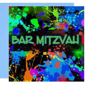 Tarjeta Barra Mitzvah, salpicadura de la pintura,