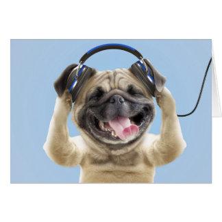 Tarjeta Barro amasado con los auriculares, barro amasado,
