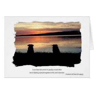 Tarjeta Barros amasados en puesta del sol