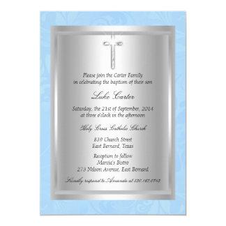 Tarjeta Bautizo azul cruzado de plata del bautismo
