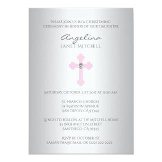 Tarjeta Bautizo cruzado rosado de plata elegante del