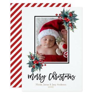 Tarjeta Baya del acebo de las Felices Navidad y foto