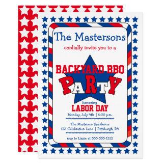 Tarjeta Bbq patriótico del Día del Trabajo de las barras y