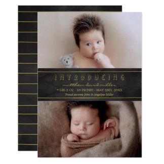 Tarjeta Bebé de introducción negro de la acuarela y del