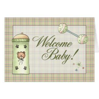 Tarjeta Bebé de la recepción de la tela escocesa de