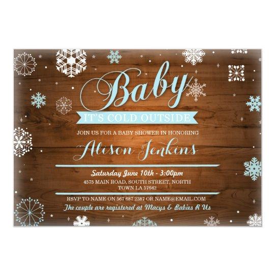 Tarjeta Bebé es exterior frío que la fiesta de bienvenida