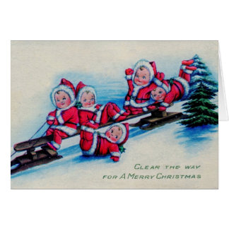 Tarjeta Bebés del navidad del vintage