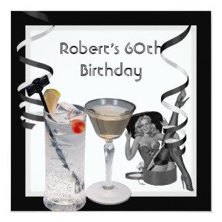 Tarjeta Bebidas MODELAS del 60.o de cumpleaños chica retro
