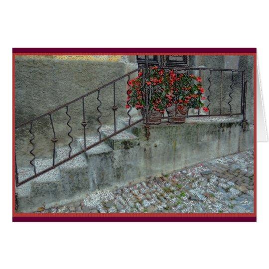Tarjeta Begonias en el stoop del hogar en el olLjubljana,
