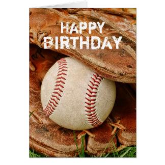 Tarjeta Béisbol del feliz cumpleaños y mitón viejo