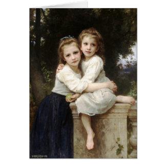 Tarjeta Bella arte del vintage de dos hermanas por la
