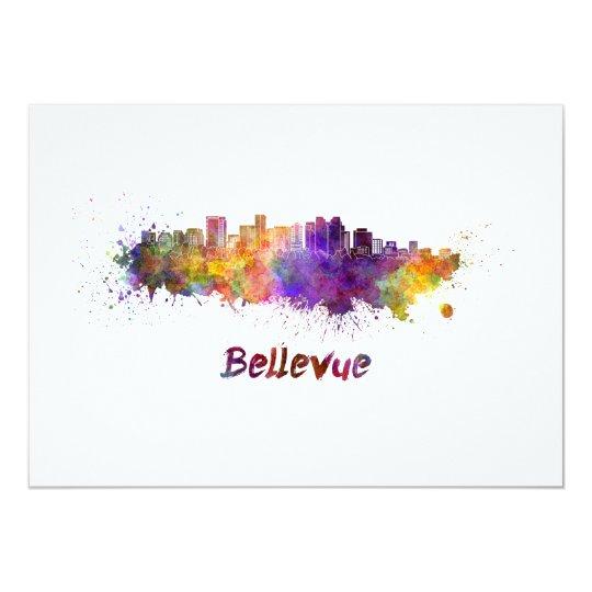 Tarjeta Bellevue skyline in watercolor