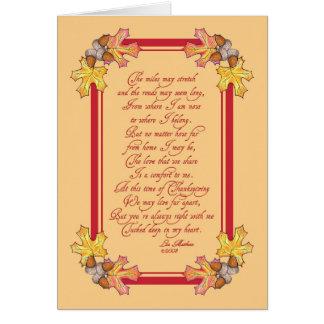 Tarjeta Bellotas y hojas de la acción de gracias