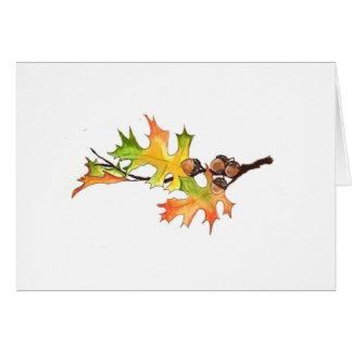 Tarjeta bellotas y hojas de otoño