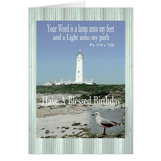 Tarjeta bendecida del faro del cumpleaños para