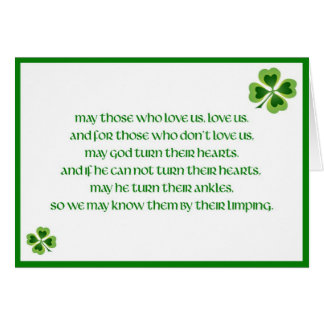 Tarjeta Bendiciones irlandesas