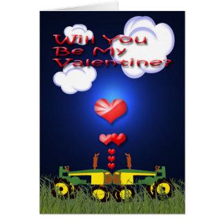 Tarjeta Besar los tractores bajo corazones