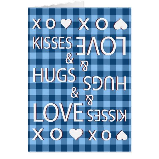 Tarjeta Besos y abrazos y guinga del amor a cuadros