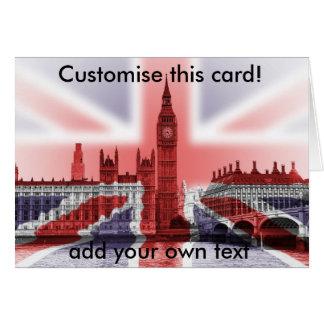 Tarjeta Big Ben y casas del parlamento, Union Jack