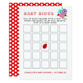 Tarjeta Bingo banal lindo del bebé de las mariquitas de