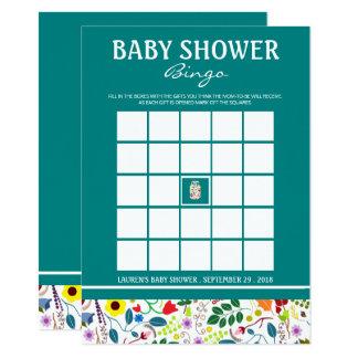 Tarjeta Bingo floral de la fiesta de bienvenida al bebé