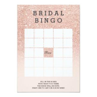 Tarjeta Bingo nupcial del oro del falso rosa color de rosa
