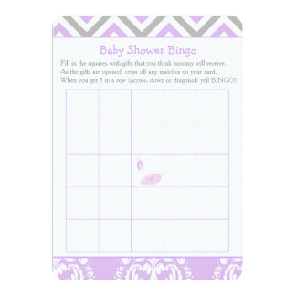 Tarjeta Bingo púrpura y gris de la fiesta de bienvenida al