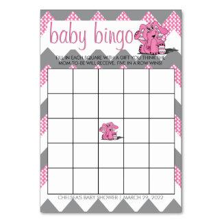 Tarjeta Bingo rosado y gris de la fiesta de bienvenida al