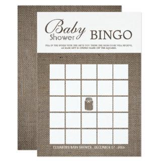 Tarjeta Bingo rústico de la fiesta de bienvenida al bebé