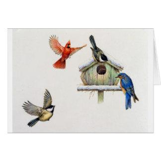 Tarjeta Birdhouse del invierno