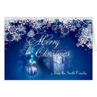 Tarjeta blanca azul de las Felices Navidad del