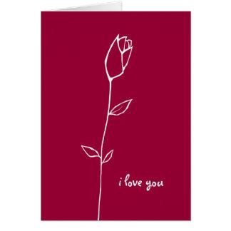 Tarjeta blanca del amor del capullo de rosa