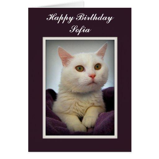 Tarjeta blanca del gato del feliz cumpleaños de So