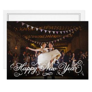 Tarjeta blanca elegante de la foto de la Feliz Año