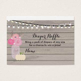 Tarjeta blanca floral rosada de la rifa del pañal