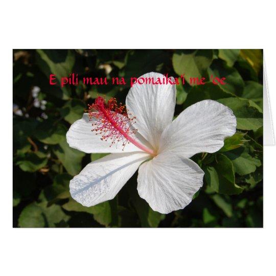 Tarjeta blanca hawaiana del hibisco de recuerdos