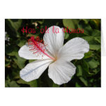 Tarjeta blanca hawaiana del hibisco del feliz cump