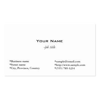 tarjeta blanca llana, simple y fresca del perfil tarjetas de visita