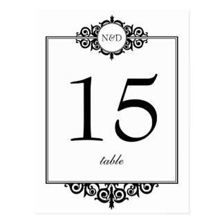 Tarjeta blanca negra del número de la tabla del postal